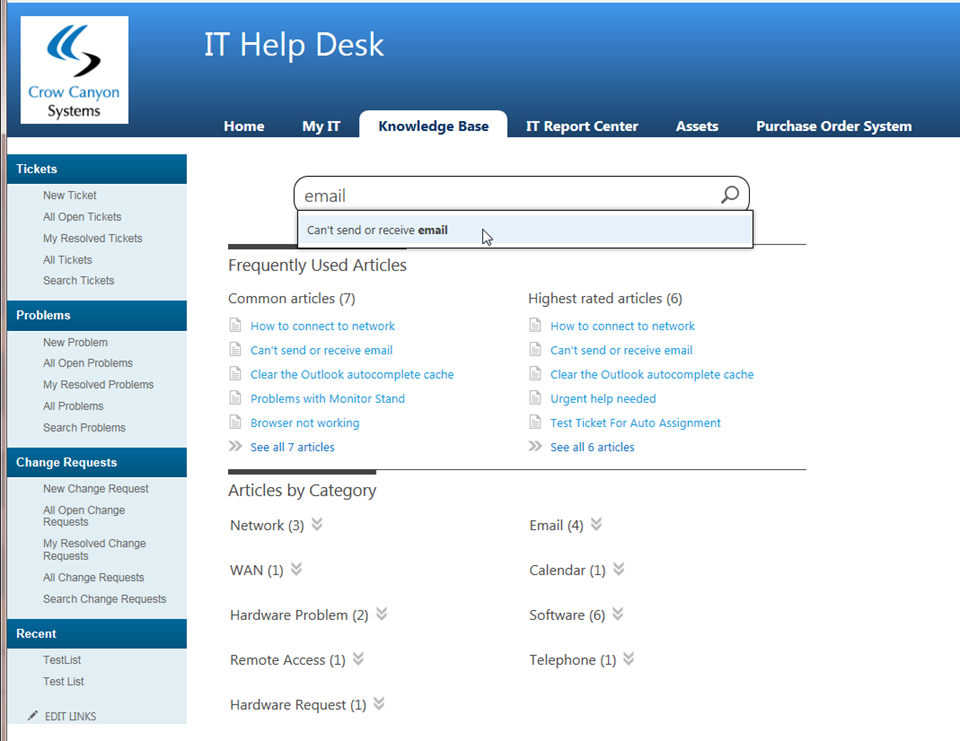 Sharepoint help desk application crow canyon for Access knowledge base template