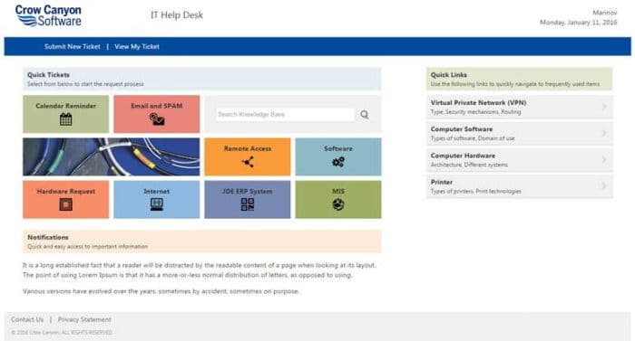 Example of an End User Application Portal