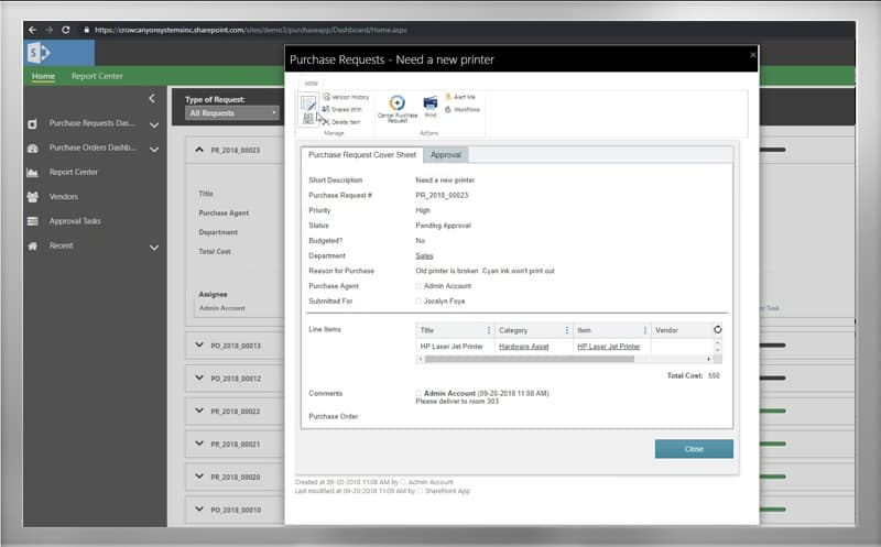 sharepoint or office 365 purchase order system crow canyon