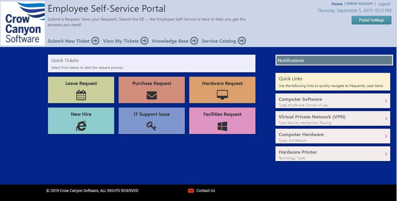 Employee Self-Service Portal, classic view