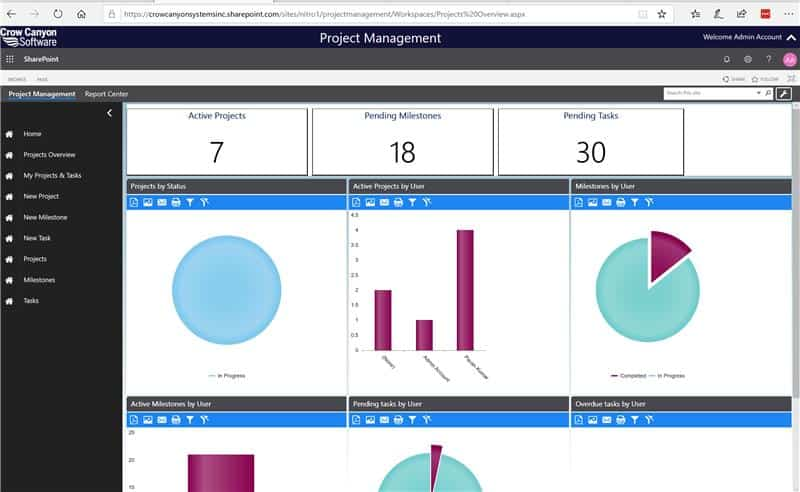 Dashboard of the Project Manager business application by Crow Canyon Software