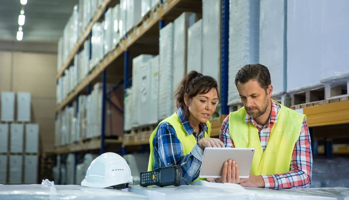 Work Order system being used by warehouse employees